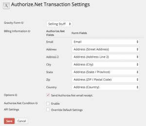 Setting Gravity Forms Authorize.Net
